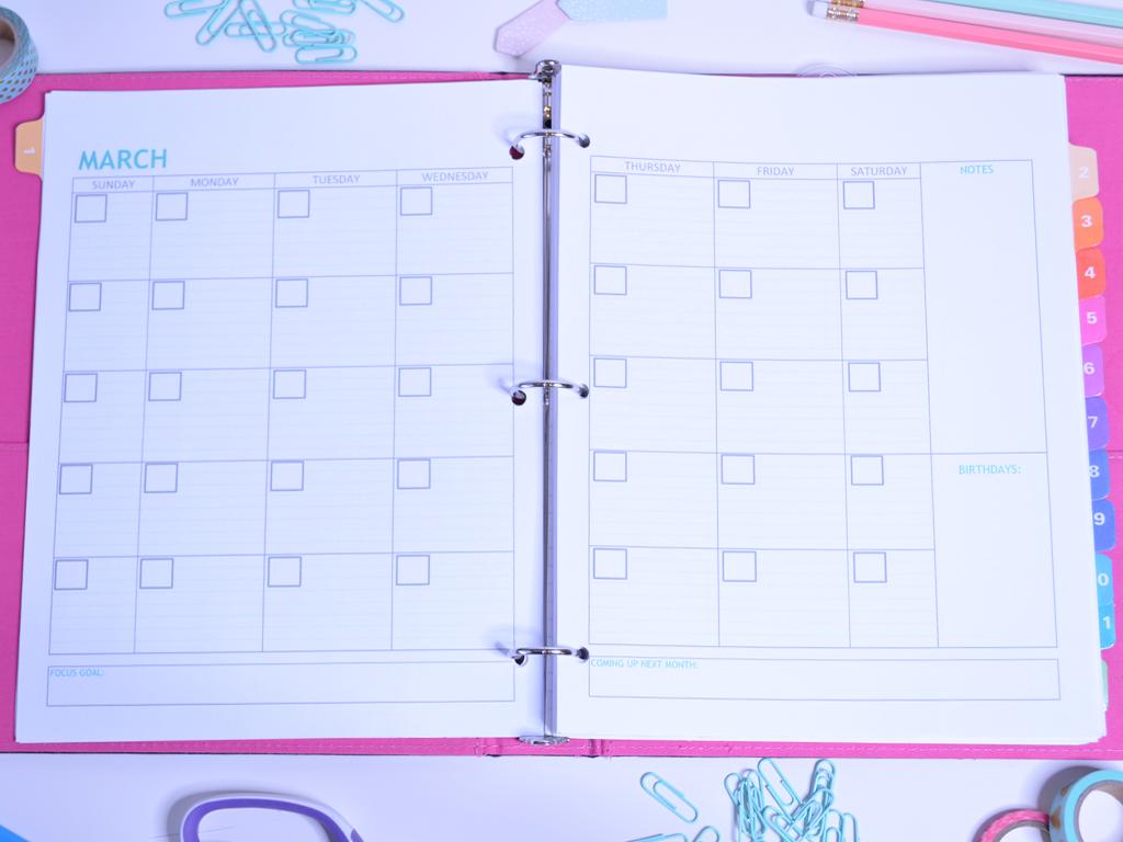 Monthly Organizing Calendar : Monthly calendar organizing one sweet life